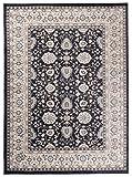Tapiso Colorado Teppich Wohnzimmer Klassisch Kurzflor Orientalisch Schwarz Creme Beige Floral Ziegler Ornament Muster Orientteppich ÖKOTEX 140 x 200 cm