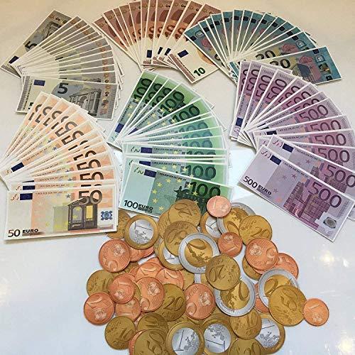 Carpeta Spielgeld - 320 Euro-Münzen in 1, 2, 5, 10, 20, 50 Eurocent + 1 und 2 Euro   € Coins Rechnen Lernen Kaufmannsladen Spielen Deko