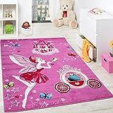 Kinderteppich Pink Zauberfee Prinzessin Kinder Teppiche für Mädchen Fuchsia Pink, Grösse:120x170 cm