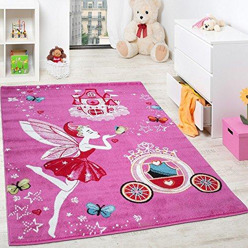 Alfombra Infantil Rosa Hadas Y Princesas Para Niñas En Fucsia Y Rosa,