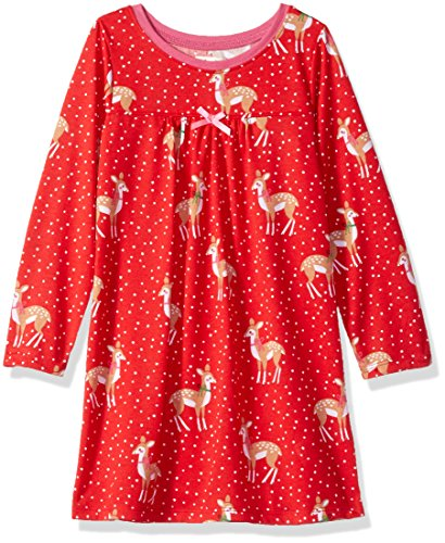 Hatley Mädchen Nachthemd Long Sleeve Polyester Nightgowns, Rot (Holiday Deer Cheer 600), 2 Jahre (Christmas Pj Holiday)