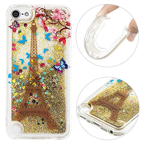 Handyhülle Ipod Touch 5/6 Gold Quicksand Softshell,Moon mood® Ipod Touch 5 Etui/Ipod Touch 6 Durchsichtige Hülle 3D Creative Case Crystal Clear Flüssig Mode Bunten Transparente Kristallklaren Sparkly Silikon TPU Weich - Für 3d-cases Ipod Bling Den 5