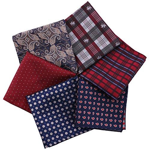 Küssen U Herren 6 Stück Verschiedene Classic Pocket Square 23 * 23cm Taschentücher Pack für Anzug Zubehör (Set 2) (2 Stück Seide Anzug)