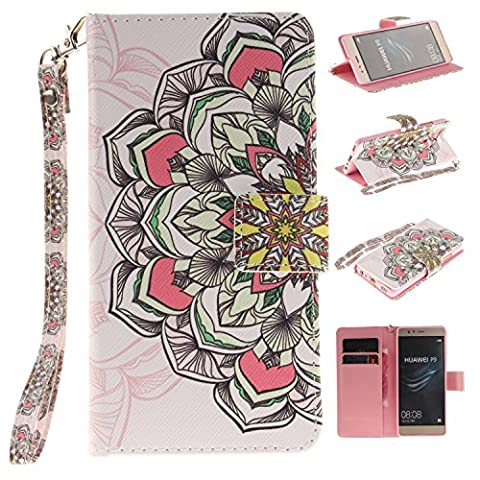 Huawei P9 Case,Huawei P9 Cover,Wallet Case for Huawei P9,Cozy Hut Fashion Beautiful Art Painted Pattern Flip PU Leather Fold Wallet Pouch Case Premium Leather Wallet Flip Case with Stand Credit Card ID Holders Case Cover for Huawei P9 -