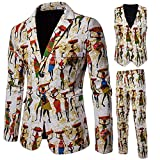 LSYGB Homme 3 Pcs Costard Blazer Veste et Pantalon Gilet Manteau Slim Fit Blazers, Convient pour Les garçons d'honneur de Mariage, fêtes, Noël, Halloween,M
