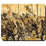 Deutscher Angriff 1918 Wk Stahlhelm Schlacht Deutschland Stellung Flammenwerfer Bild Gemälde Explosion Granate Schützengraben - Mauspad Mousepad Computer Laptop PC #9539