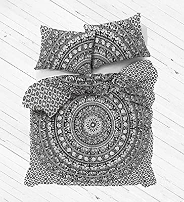 White Color Elephant Mandala Duvet Doona Cover Throw Handmade Cotton Bedding Doona Cover Indian Decorative Duvet Covers Set Single Size