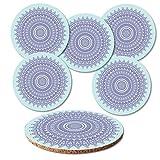 Addies Glas-Untersetzer 6-tlg.Set Mandala in hochwertiger Klarsicht-Geschenkbox und Korkrückseite, rund, Motiv-Guten Abend-5