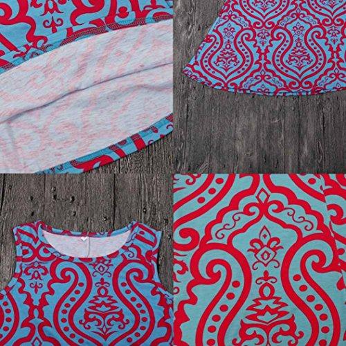Kleid Transer® Damen Sleeveless Minikleid Polyester Drucken Täglich Rundhals Beiläufige Kleider Blau