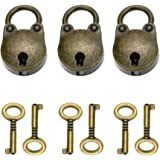 3 stuks antieke vintage panda mini hangslot met 6 stuks sleutelset voor feestcadeau, decoratie (bear)