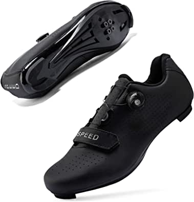 JIASUQI SPD Cycling Shoes Road Riding Professional Shoes with Compatible Cleat Peloton Shoe with SPD and Delta for Men Women All Black, 9 UK