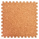 Cork Top Interlocking Foam Mats - Perfect for Floor Protection, Garage, Exercise, Yoga, Playroom. Eva foam (9 tiles, Cork)