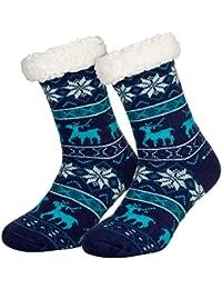 Piarini 1 Paar Kuschelsocken mit ABS Sohle - warme Damen Socken Hüttensocken - Wintersocken mit Anti Rutsch Noppen