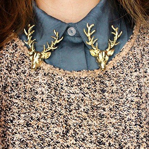 - Goldene Hirsch-Broschen, für Jacke oder Kragen, einzigartiges Geschenk (Schal Valentine Herz)