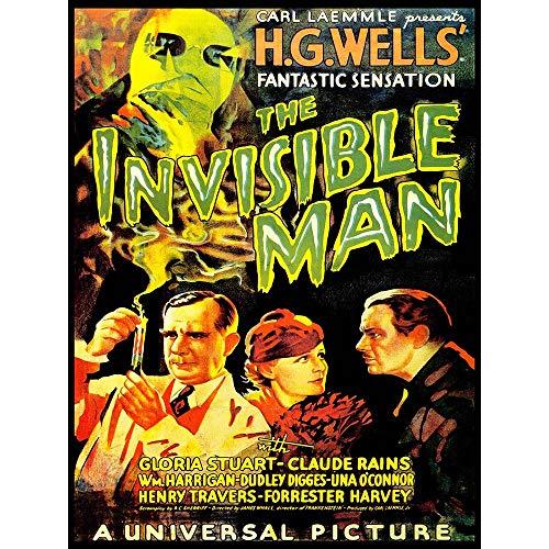 Wee Blue Coo LTD Movie Film Invisible Man Hg Wells Classic Horror Sci Fi USA Art Print Poster Wall Decor Kunstdruck Poster Wand-Dekor-12X16 Zoll (Classic Movie Horror Poster)