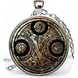 Youkeshan Collar Doctor Who con colgante Dr Who Dr Who Jewelry Gallifreyan Time Lord Galaxy Gallifrey símbolo circular Gallif