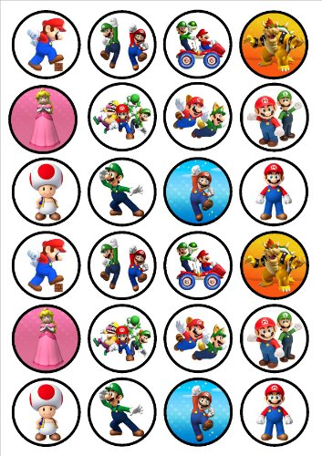 Super Mario Bros Edible PREMIUM THICKNESS SWEETENED VANILLA,Wafer Rice Paper Cupcake Toppers/Decorations