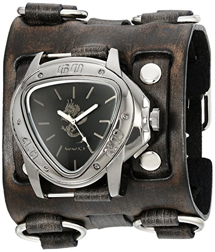 Nemesis Men's 928FWB-S Silver Dragon Series Black Watch With Wide Faded Leather Cuff Band