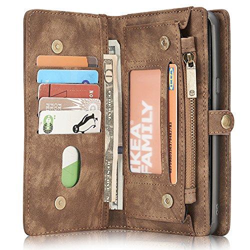 Samsung Galaxy S8 Leder Case Hülle mit Kartenfächer Geldscheinfach mit Reißverschluss Magnet Handy Schutzhülle, Braun (Handy-braun Brieftasche)