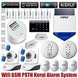 KERUI - W2 WIFI Sans fil GSM / RTC Autodial SMS Alarme Maison Bureau Alarme de Sécurité Anti-Vol, IP Caméra WIFI Sans Fil, Caméra de Sécurité IP WiFi pour la Surveillance, Sirène Extérieure Solaire