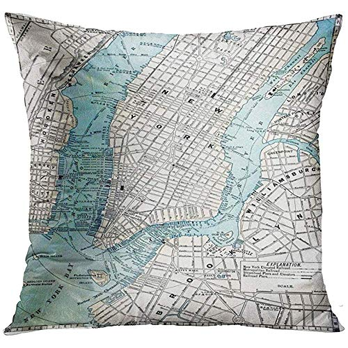 wenyige8216 Vintage Original Old Street Map of New York City Dated 1889 NYC Manhattan Decorative Pillowcases Throw Cushion Covers for Sofa and Couch 45 x 45 cm
