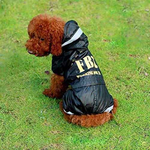 zunea Outdoor Wasserdicht Kleine Hunde Regenmantel mit Kapuze Reflektierende Vinyl Mesh gefüttert Regen Gear Zupfbürste Jumpsuit für Pet Puppy Katze Hund Mops (Vinyl-mesh)