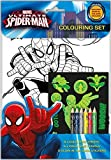 Ultimate Spiderman Colouring Set - 8 x Colouring Sheets, 6 x Colouring Pencils & Glow in Dark Stickers