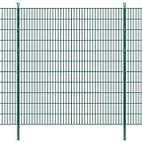 Festnight Garten Zaunset Stahl Doppelstabmattenzaun Gartenzaun & Pfosten Set Metallzaun Zaunpaneel 2008x2230mm Gesamtlänge 10m Grün