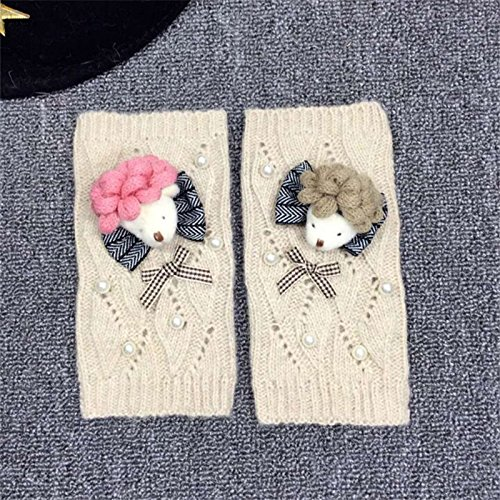 THWS Damen Handschuhe tragen Stricken warme Hälfte - finger Handschuhe schöne Terrasse ein, Weiß (Weiß Cartoon-handschuhe)