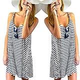 Bekleidung Longra Damen Ärmelloses gestreift locker Mini Kleid Beach Party lässige Sommerkleid Pareos & Strandkleider