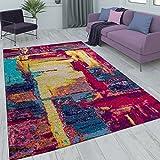 Paco Home Kurzflor Wohnzimmer Teppich Gemälde Optik Rot Gelb Blau Mehrfarbig, Grösse:160x230 cm