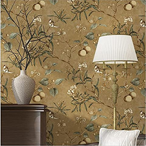 H&M Tapete Vlies Retro Vogel und Blumenmuster Dekoration Schlafzimmer TV Wand Wohnzimmer Tapete -53 cm (W) * 10 m (L) , Brown