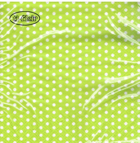 ti-flair - Servietten - Bolas lime - Punkte / gepunktet / weiß hellgrün (Papier-servietten Hellgrün)