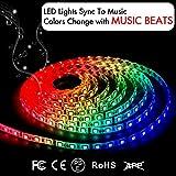 LED-Lichtbänder, LED-Leuchten synchronisieren mit Musik 16,4Ft / 5M LED-Lichtbänder 300 LED-Leuchten SMD 5050 wasserdicht flexible RGB-Lichtbänder IR-Kontroller + 12V 3A Stromversorgung durch DotStone