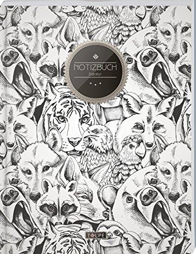 TULPE Blanko Notizbuch A4 'C103 Wilde Tiere' (140+ Seiten, Vintage Softcover, Seitenzahlen,...