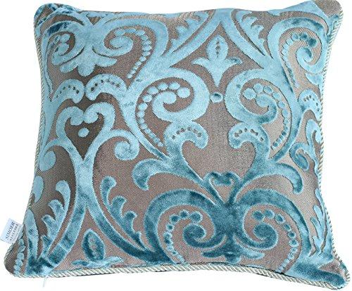 HYSENM Kissenhülle Samt Jacquard Weich Hautfreundlich mit Reißverschluss Kissenbezug für Sofakissen Dekokissen Autokissen Zierkissen Pillow Case, Blau 45x45cm