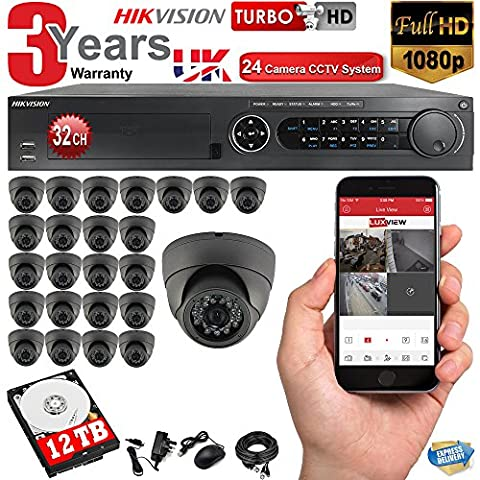 24 x 1080p HD CCTV Camera System Kit + 32 Channel Hikvision DVR + 12TB Harddrive + FREE P2P Mobile App, INC Cables, Power Supply and 3 Years Warranty