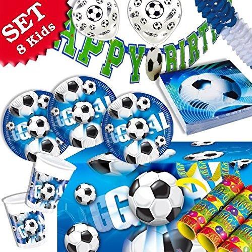 FUSSBALL Geburtstag-Deko-Set, 55-teilig zum Kinder-Geburtstag Jungen und Mädchen und FUßBALL- Motto-Party für 8 Kids