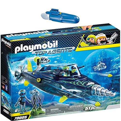 PLAYMOBIL® Top Agents 2er Set 70005 7350 Team S.H.A.R.K. Drill Destroyer + Unterwassermotor