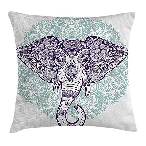 Jolly2T Elephant Mandala Throw Pillow Cushion Cover by, Ethnic Indian Floral Paisley Print Sacred Animal Head Hippie, Decorative Square Accent Pillow Case, 18 X 18 Inches, Purple White and Blue Floral Print Knit Dress