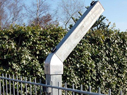 Zaun-Nagel Abwinklung für Doppelstabpfosten, 45 Grad - Adapterstück MIT Aufsteckrohr - Befestigung für Stacheldraht