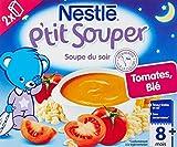 Nestlé Bébé P'tit Souper Tomates Blé - Soupe du soir dès 8 mois - 2 x 250ml -Lot de 4