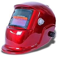 Cikuso Masque De Soudure Cagoule Casque Soudage Solaire Automatique(Utiliser Energie Solaire pour Recharge) Accessoire de Protection Rouge