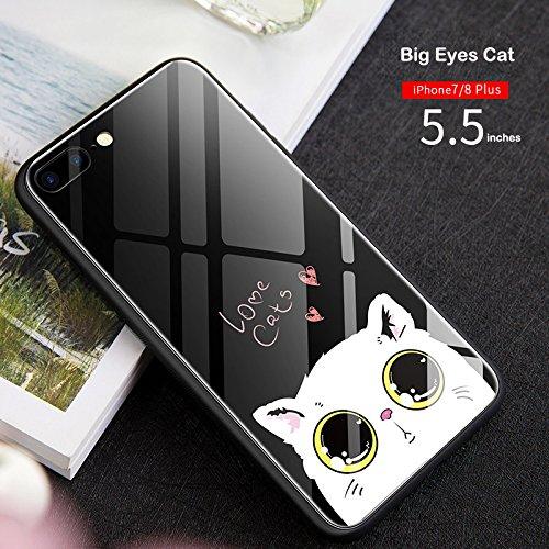 Chic-Mild New iphonex/iphone7/8Plus Schutzhülle Glas Voller Deckung gehärtetem Glas Handy Fall, iPhoneX, Big Eyes Cat -