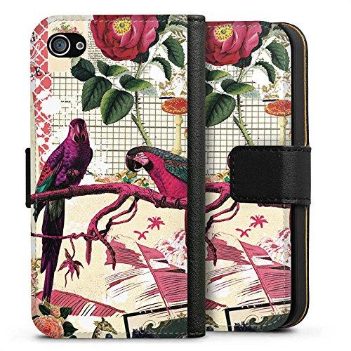 Apple iPhone X Silikon Hülle Case Schutzhülle Papagei Muster Collage Sideflip Tasche schwarz