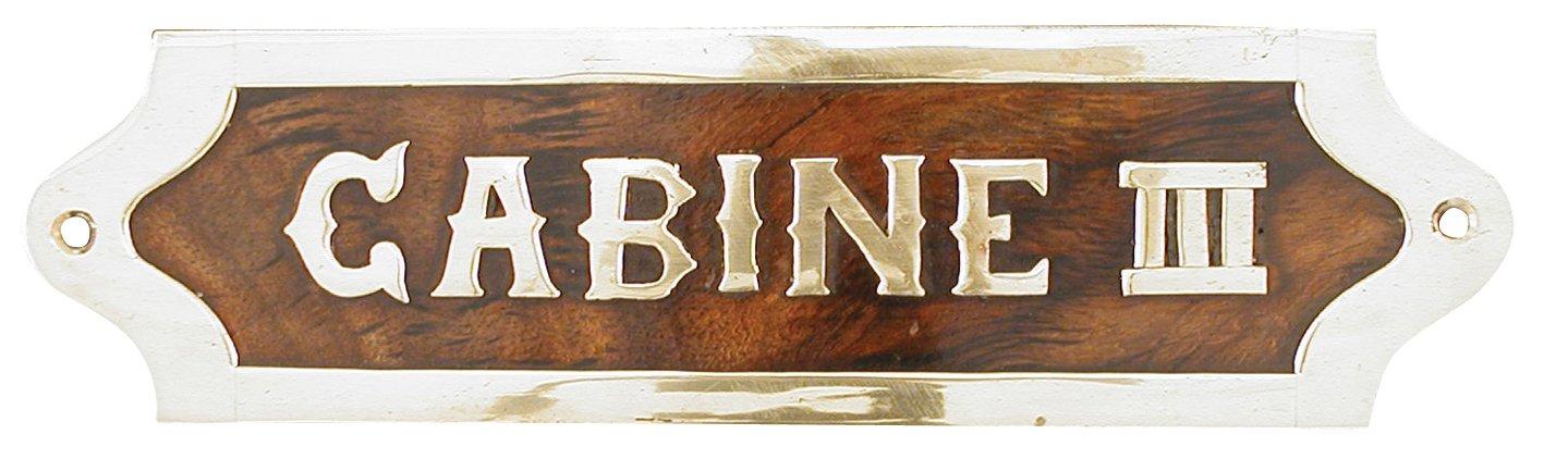 G�n�rique 844 cabina III placca in legno con elementi in ottone, 19,5 x 5 x 1 cm