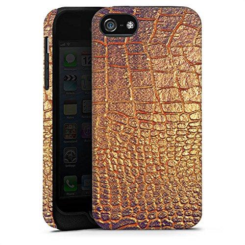 Apple iPhone X Silikon Hülle Case Schutzhülle Schlangenhaut Muster Gold Tough Case matt
