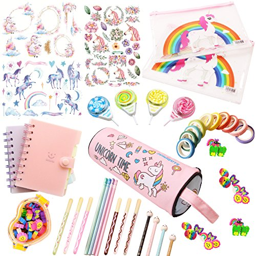 Assorted Unicorn School Supplies Pen Pencil Case Eraser Note Stationery Gift Set (45Pcs)