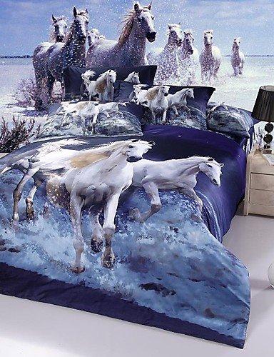 GAOL, vierteilige Anzug,das weiße Pferd neue arival Luxus 3D-Muster Bettwäsche-Sets Bettwäsche-Sets, Queen-Size , queen