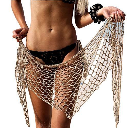 Loalirando Damen Strandkleid Beachwear Bikini Cover Up Fischernetz Kleid mit Muscheln Sommerkleider (One Size, Khaki)